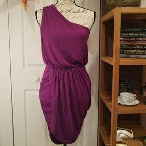 One shoulder shirred wrap dress